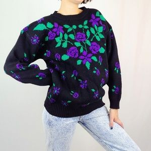 Vintage purple roses sweater